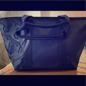 Tory Burch Navy Blue Canvas Beach Tote